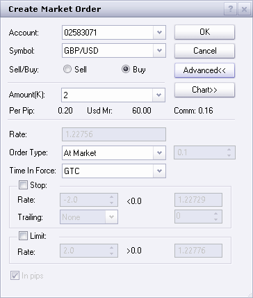 FXCM trade ticket window