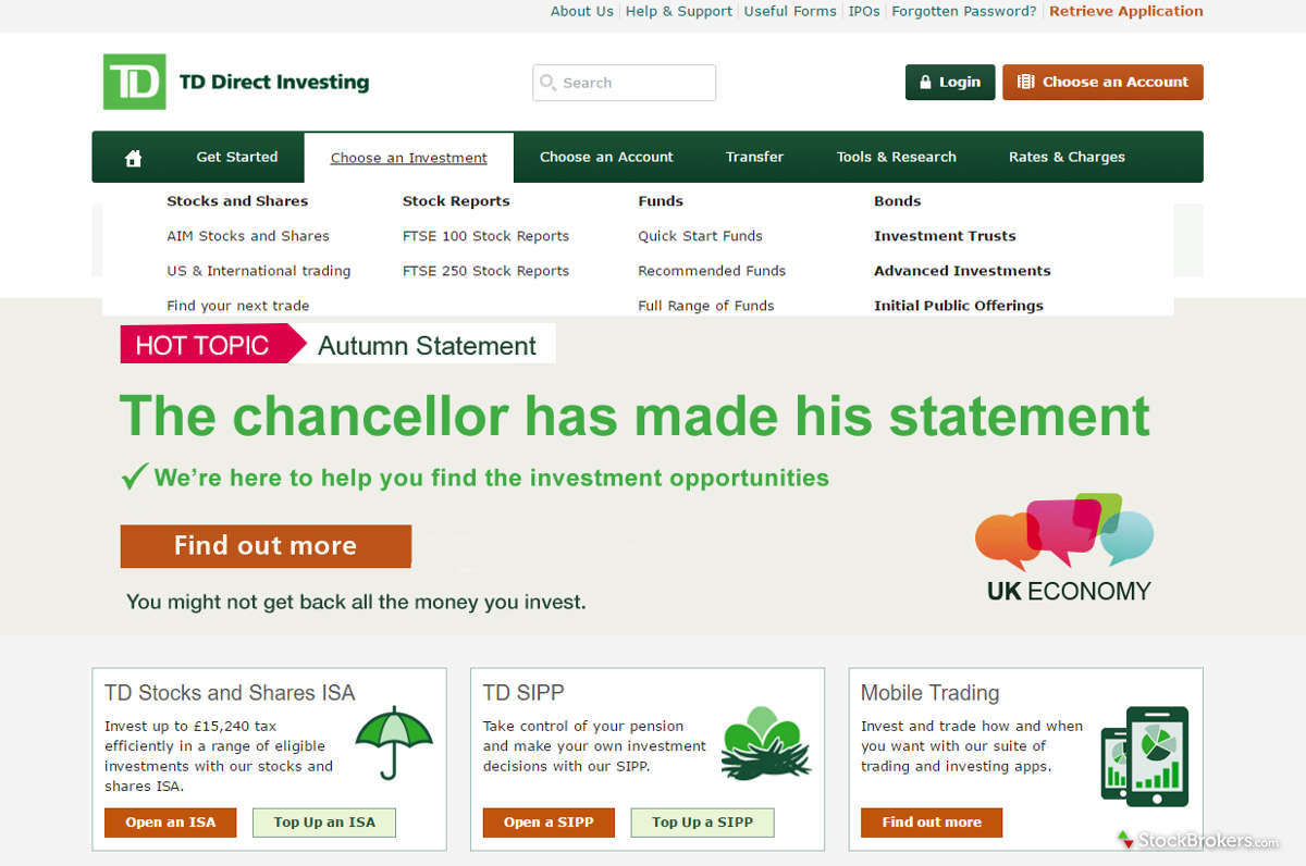 TD Direct Investing Homepage