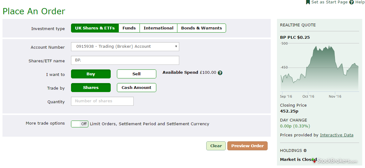 TD Direct Investing Trade Ticket