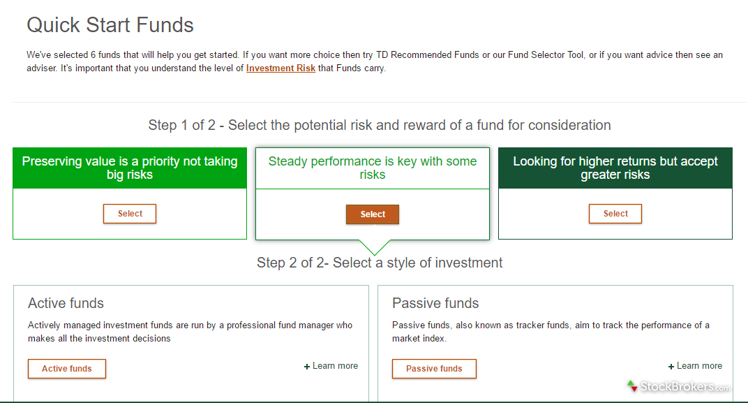 TD Direct Investing Quick Start Funds