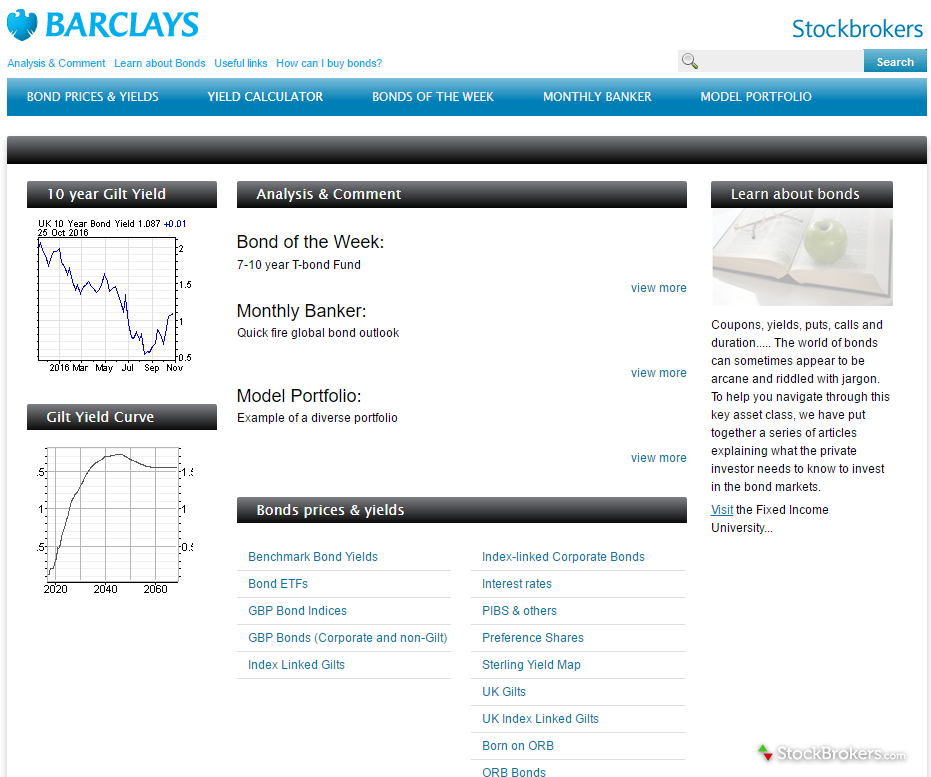 Barclays Gilts and Bonds Microsite