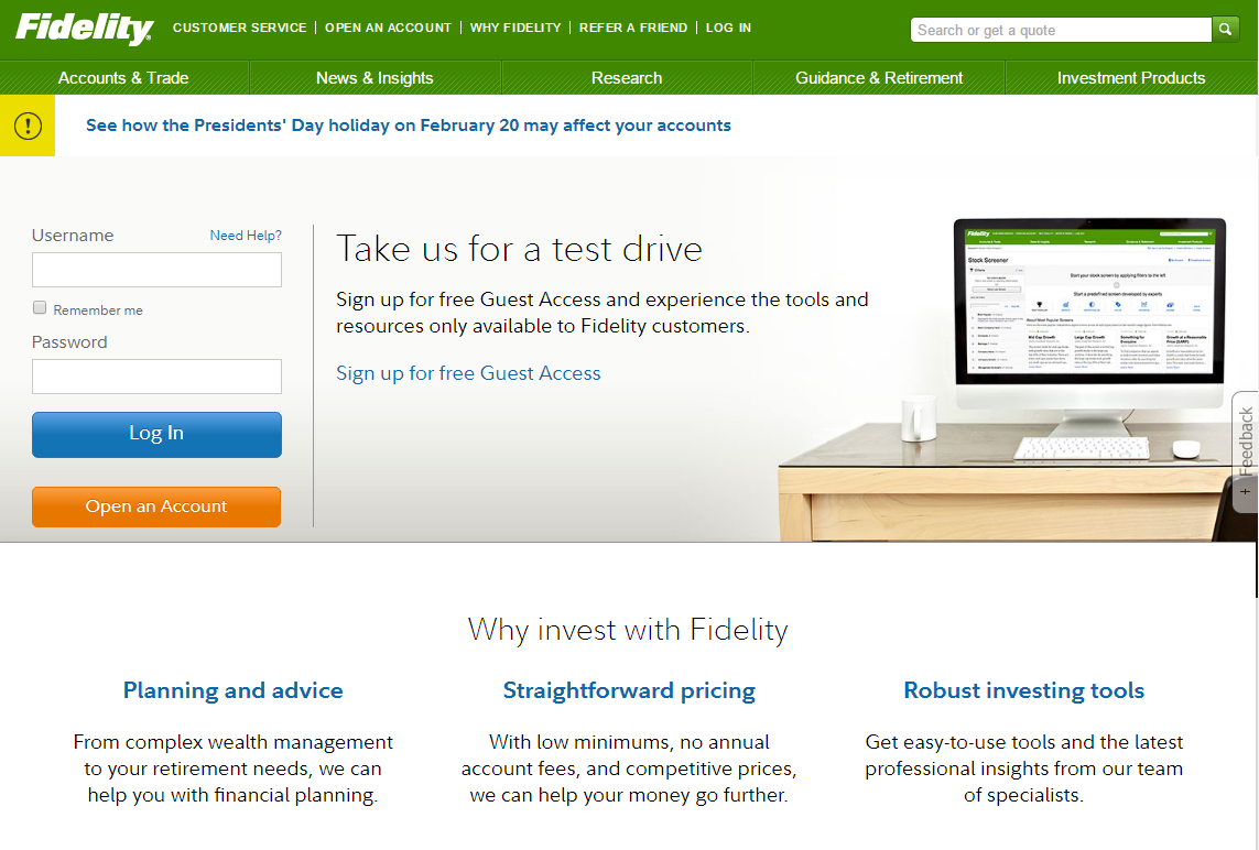 Fidelity Investments Homepage