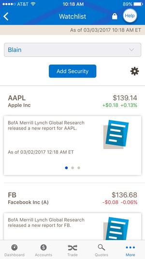 Merrill Edge Smartphone Watchlist