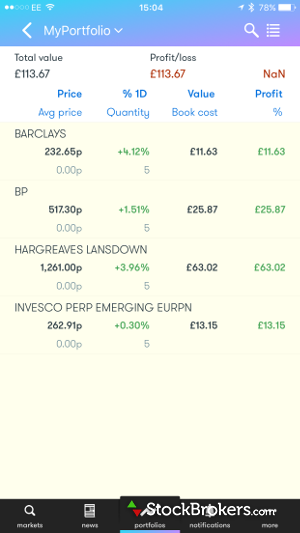 Interactive Investor Mobile Watchlist