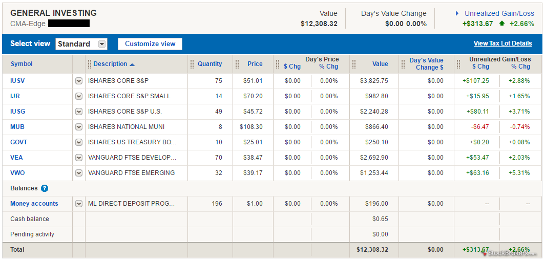 Merrill Edge portfolio holdings