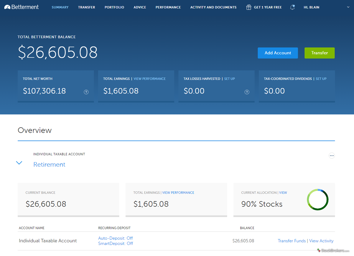 Betterment client dashboard