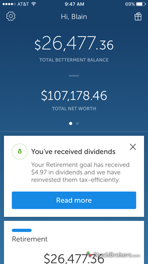 Betterment Mobile Dashboard