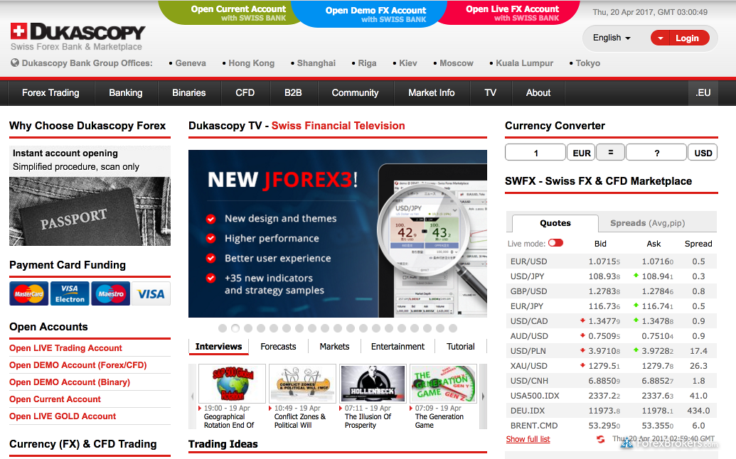 Dukascopy Homepage