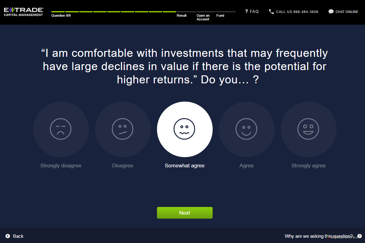 ETRADE Adaptive Portfolio risk questionnaire step 9