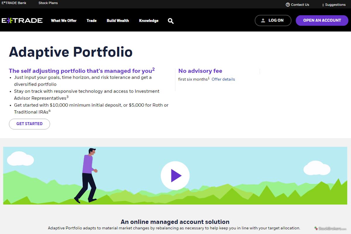 E*TRADE Adaptive Portfolio Homepage