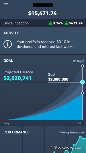 Schwab Intelligent Portfolios Mobile Dashboard