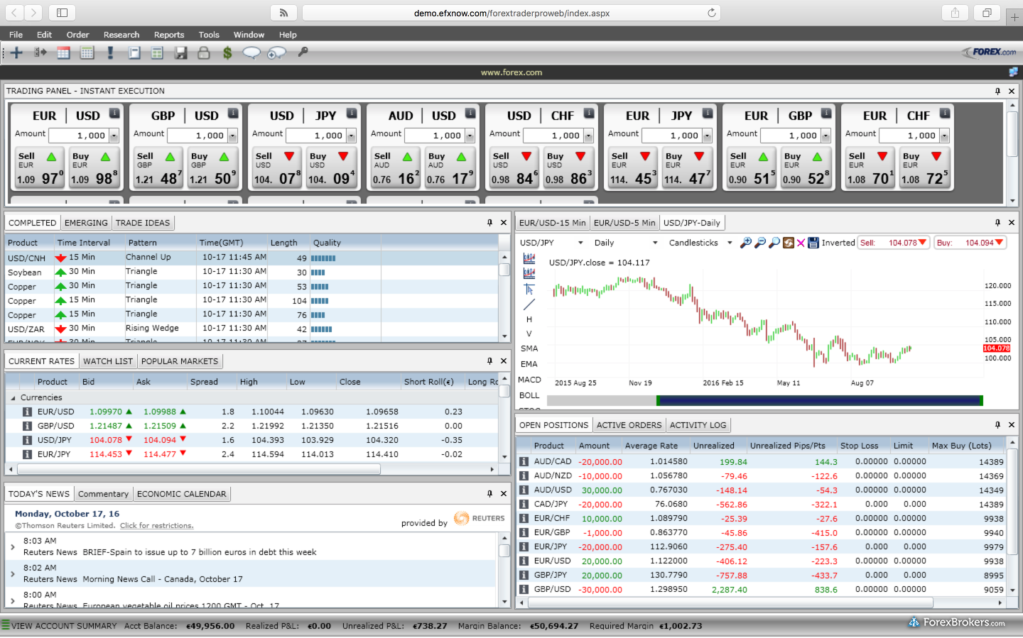 FOREXTraderPRO Web Safari Mac