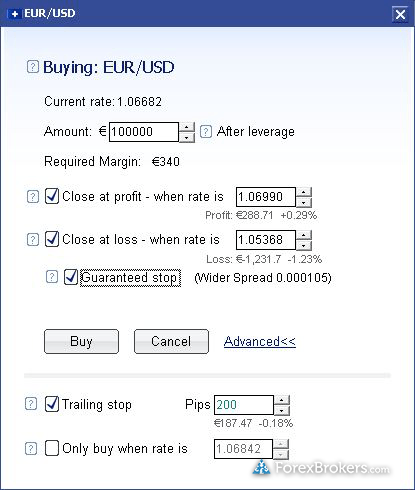 Plus500 Desktop Windows Trade Ticket