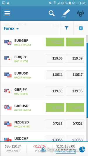 eToro mobile app watchlist