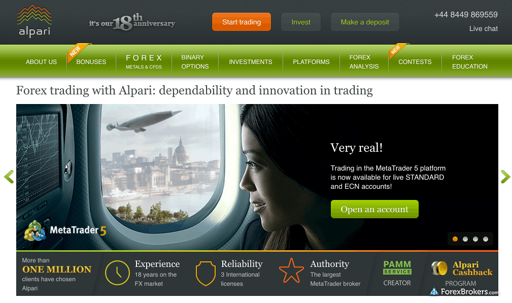 Alpari Homepage