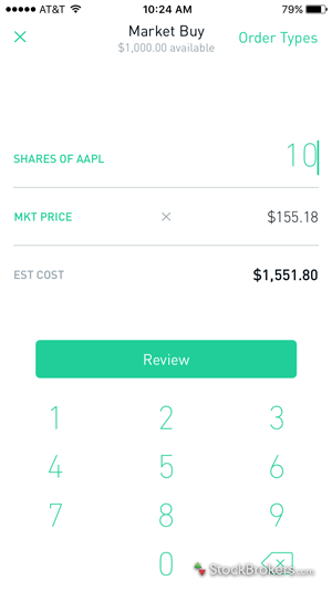 Robinhood Trade Ticket