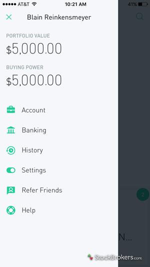 Robinhood app account details