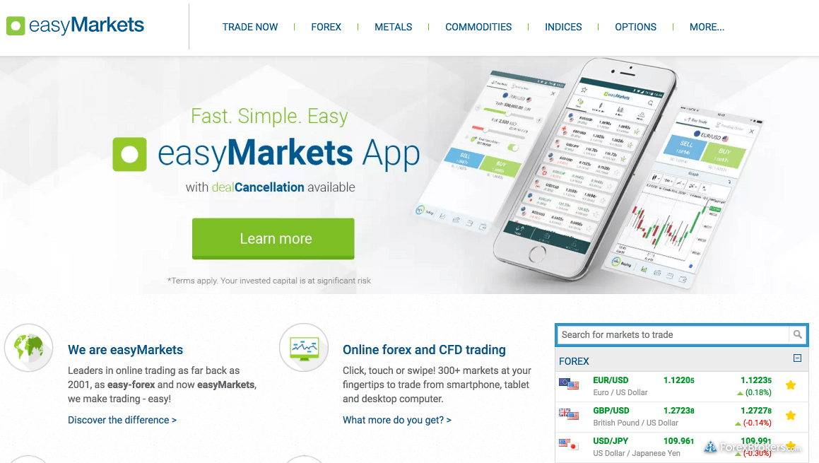 easyMarkets Homepage