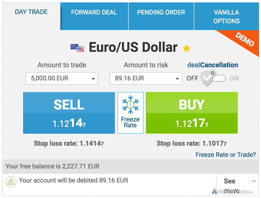 easyMarkets web trade ticket