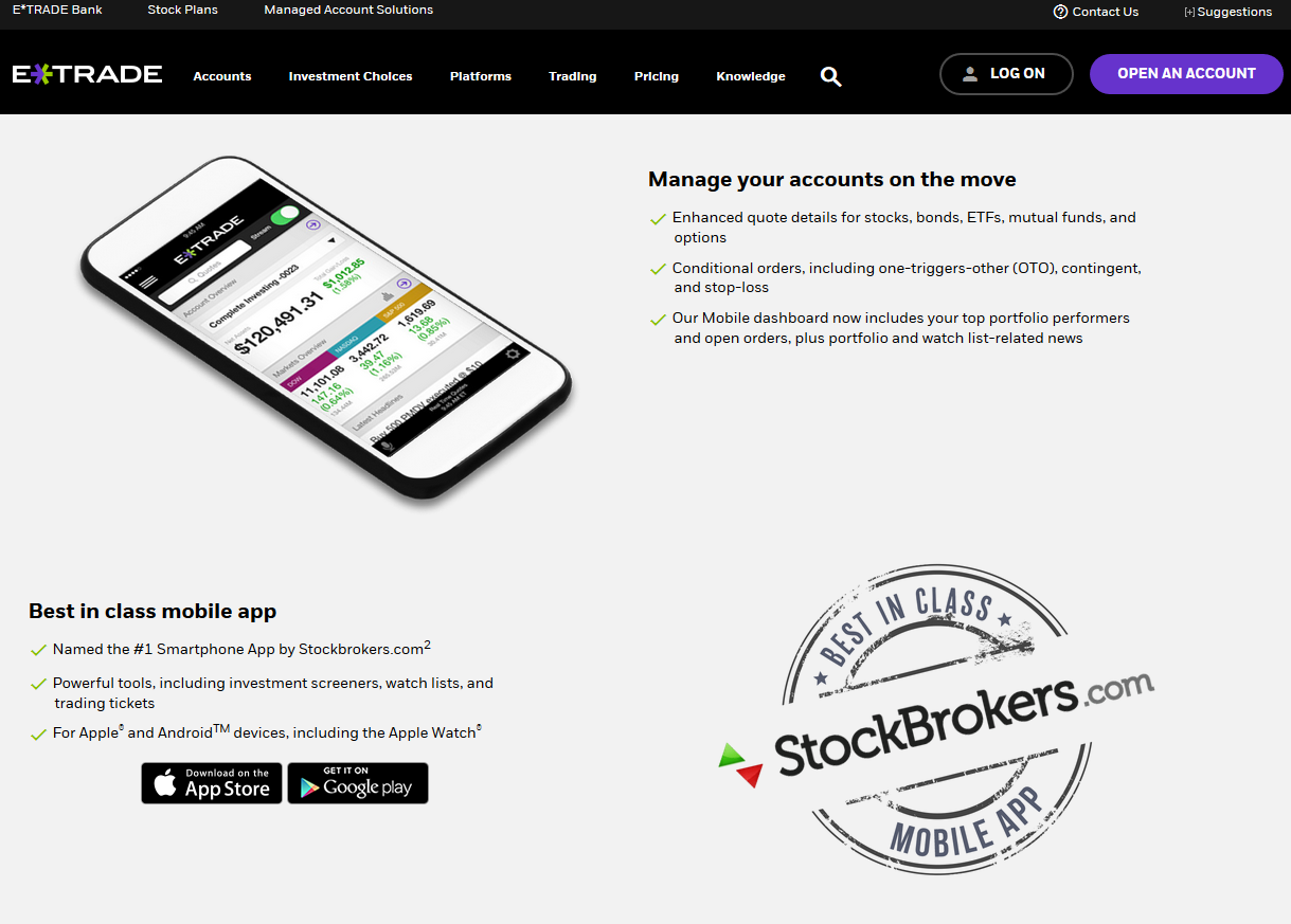 Stop On Quote Etrade Media  Stockbrokers