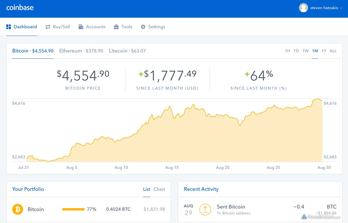 Coinbase web platform dashboard