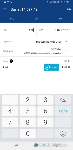 Coinbase Mobile App Quote Screen