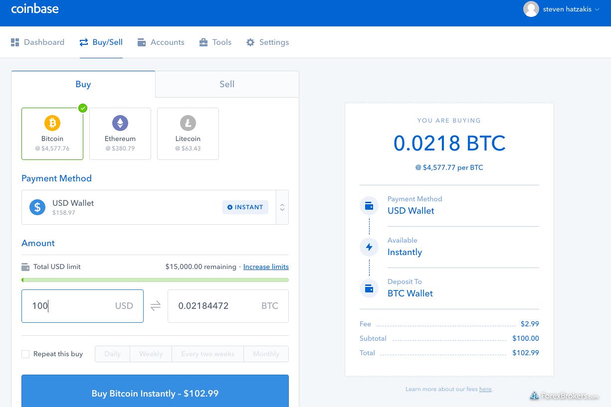 Coinbase web dashboard trade ticket