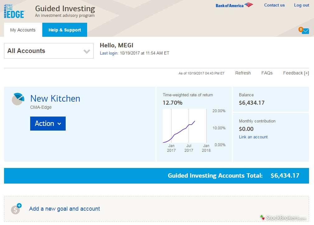 Merrill Edge Guided Investing account dashboard