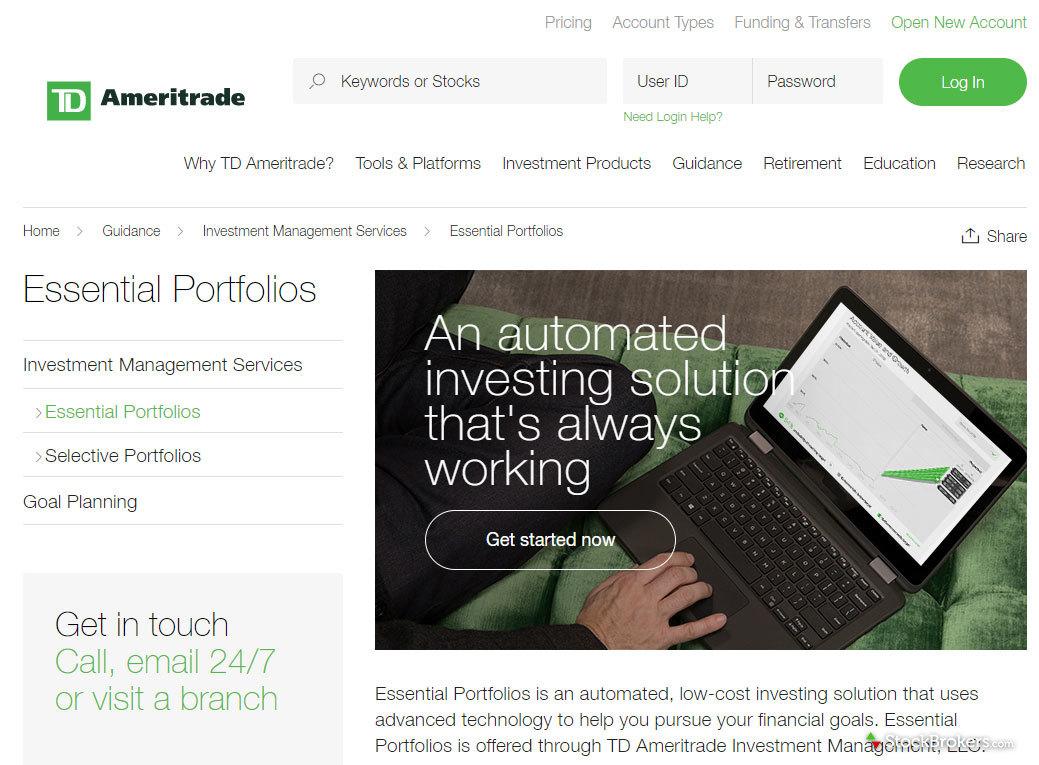 TD Ameritrade Essential Portfolios Homepage