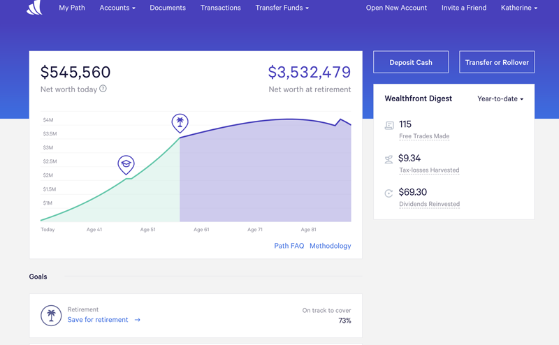 Wealthfront Path client dashboard