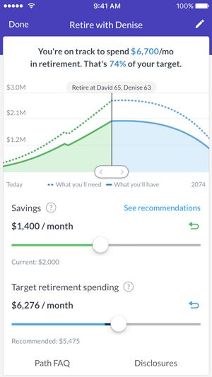 Wealthfront mobile goal tracker tool