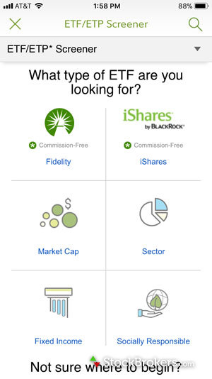 Fidelity mobile screener ETFs