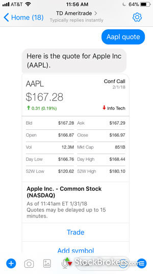 td ameritrade facebook messenger stock quote