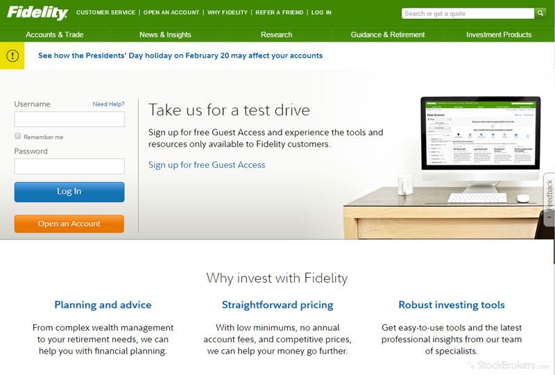 Fidelity homepage