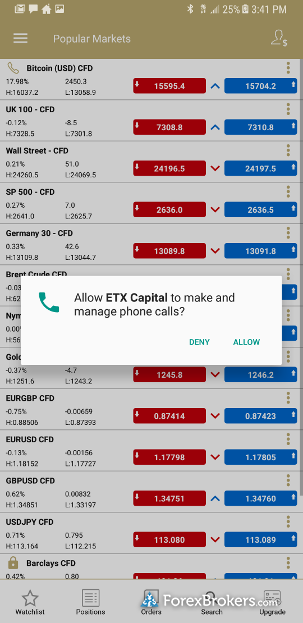 ETX Capital Trader Pro mobile android voice broking