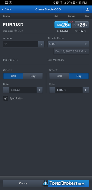 FXCM mobile trade ticket