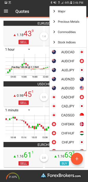 Swissquote Advanced Trader mobile android navigation