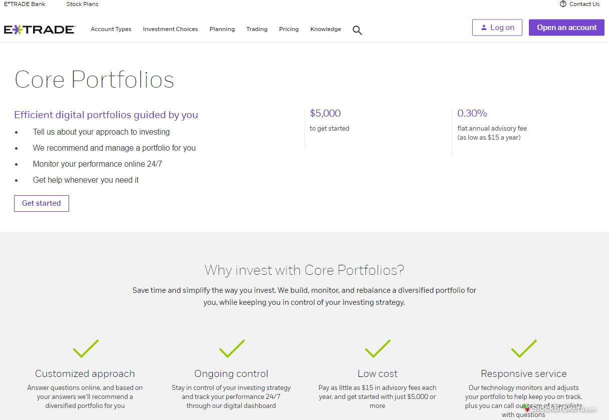 E*TRADE Core Portfolios Homepage