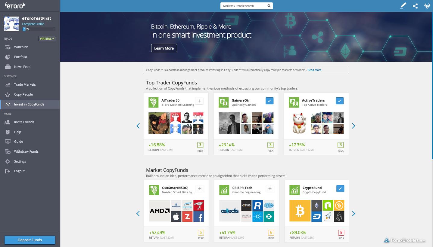 eToro web platform