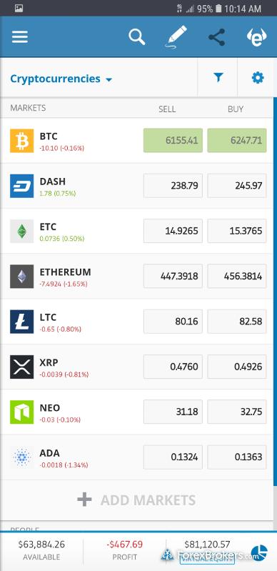 eToro Crypto Mobile App Quote Screen