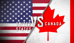 Canada vs United States flag