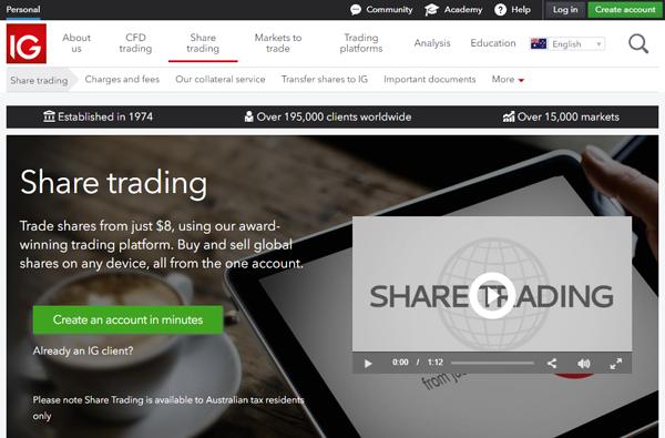 IG Australia homepage