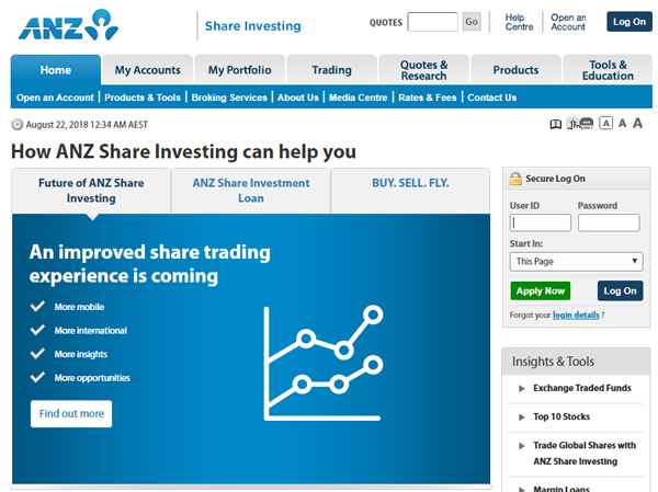 ANZ share investing homepage