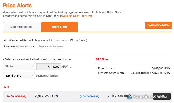 Bithumb price alerts