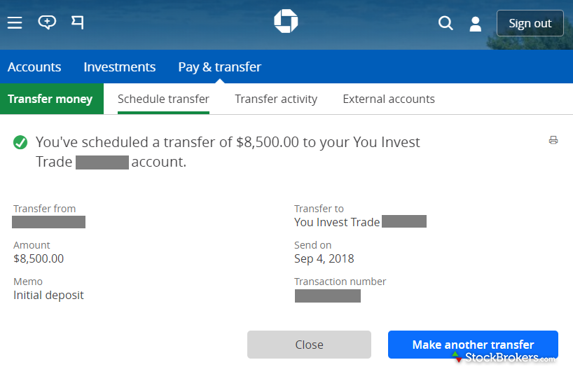 chase you invest trade initial deposit