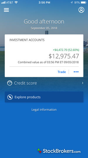 Chase You Invest Trade Mobile Dashboard
