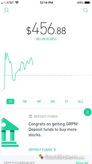 robinhood app account dashboard