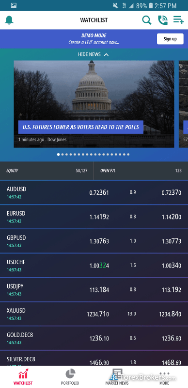 ADS Securities Mobile App Quote Screen