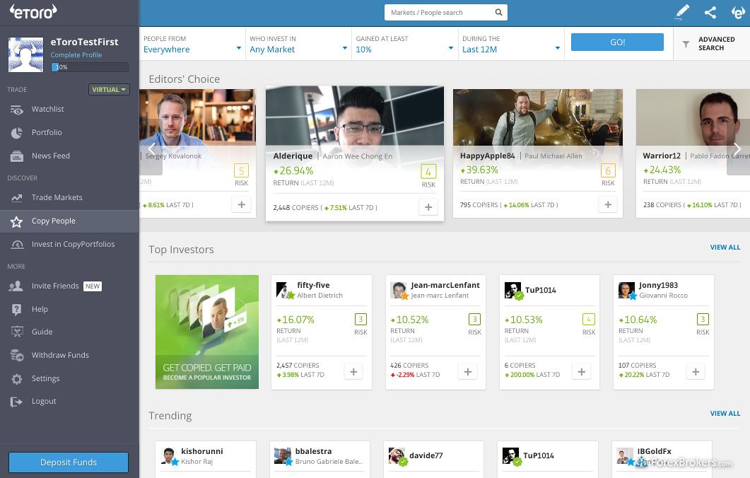 eToro web platform copy people
