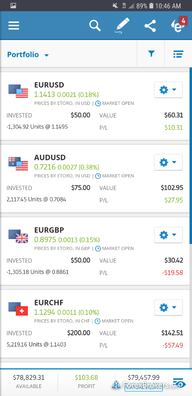 eToro mobile positions